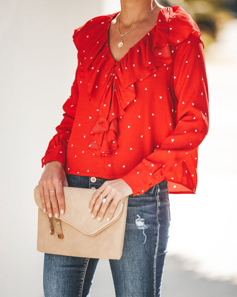 What The Heart Wants Printed Ruffle Blouse - FINAL SALE