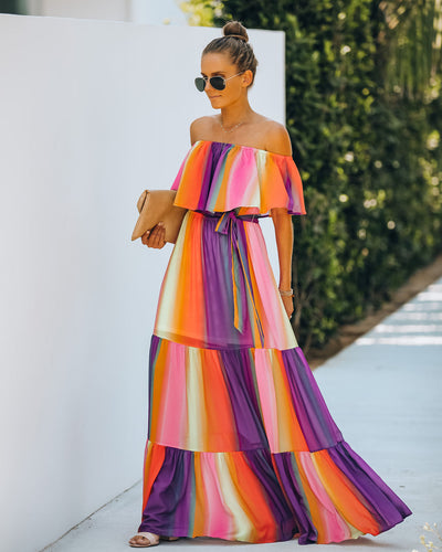 Full Of Life Striped Off The Shoulder Maxi Dress