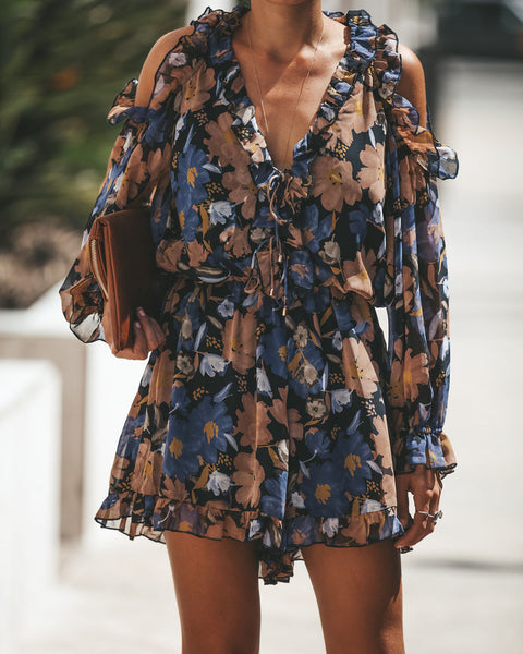 Frazzle Cold Shoulder Ruffle Romper