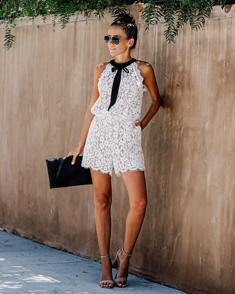 Notting Hill Pocketed Lace Romper - FINAL SALE