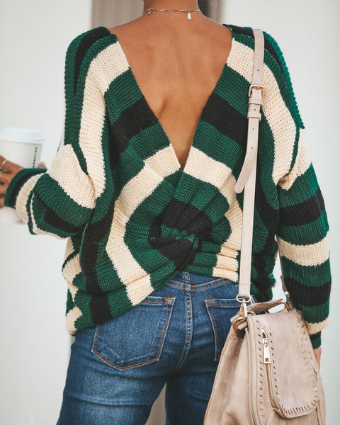 Megan Striped Twist Back Knit Sweater - Hunter Green
