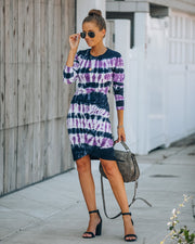 Otherside Cotton Tie Dye Long Sleeve Ruched Dress