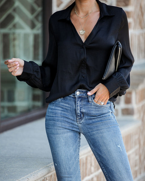 Value Of Values Button Down Blouse - Black