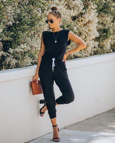 At Ease Pocketed Drawstring Knit Jumpsuit - FINAL SALE