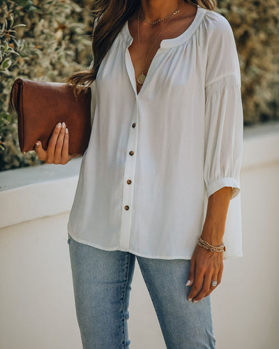 Inspired Button Down Peasant Top - Bamboo Cream