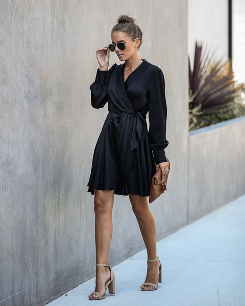 Lawrence Satin Wrap Dress - Black - FINAL SALE