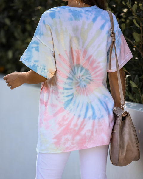 High Five Cotton Tie Dye Short Sleeve Knit Top