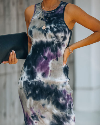 Katrina Cotton Tie Dye Ribbed Midi Dress