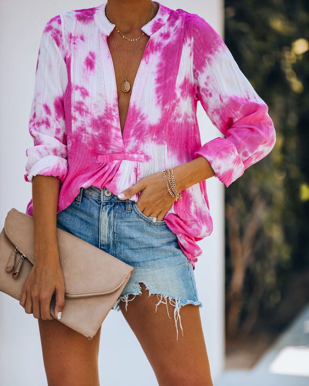 Fly Away Pocketed Tie Dye Tunic - Pink