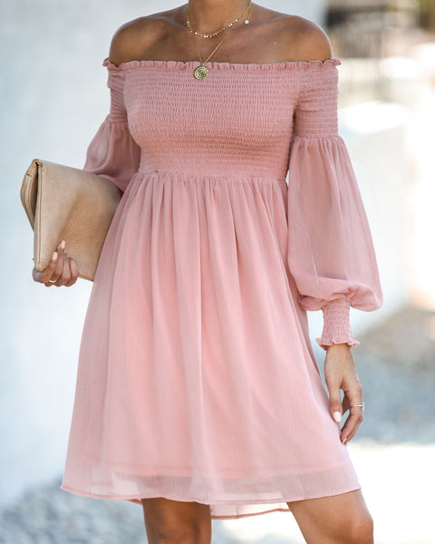 Trendy You Smocked Off The Shoulder Dress - Mauve