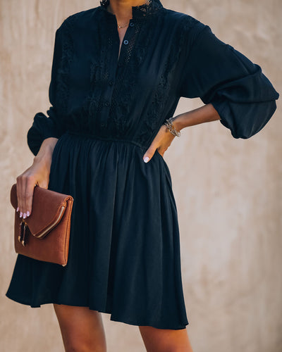 Anything Goes Pocketed Button Down Lace Dress