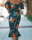 Mi Amor Floral Ruffle Midi Dress - Navy