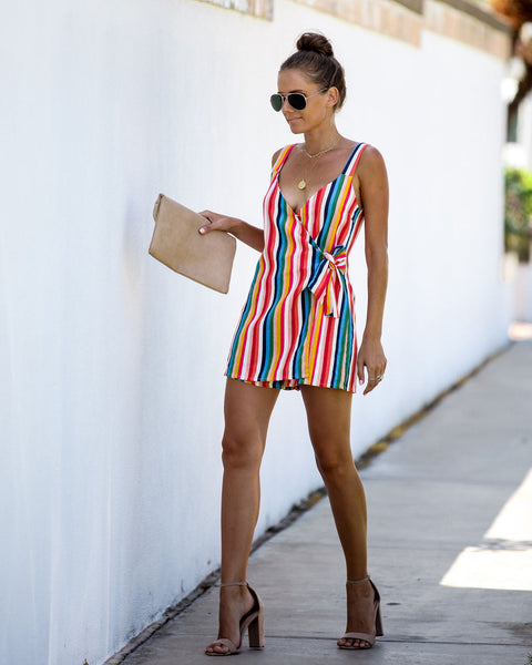 Retro Rainbow Linen Blend Striped Tie Romper