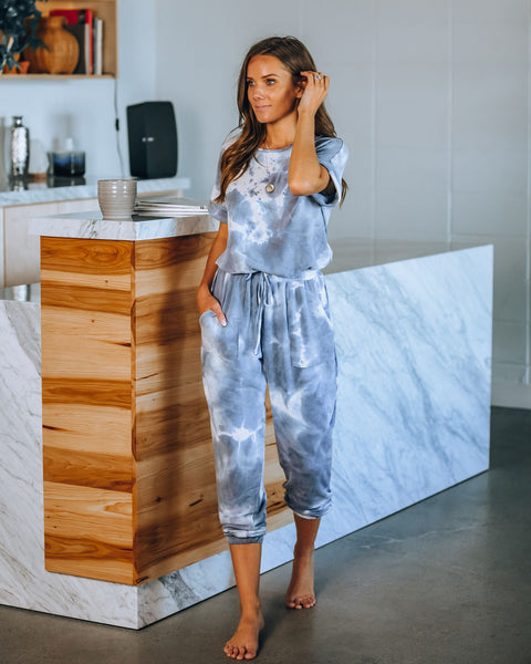 PREORDER - Boost Your Spirit Pocketed Tie Dye Knit Jumpsuit