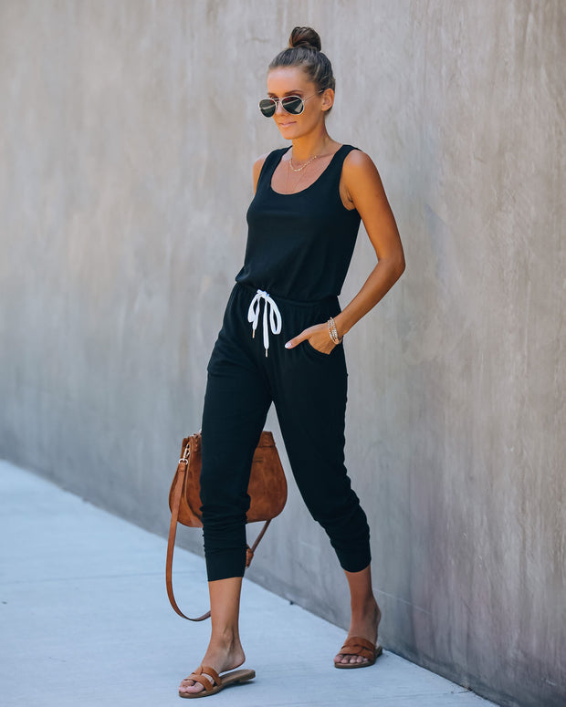 Discovery Pocketed Ribbed Knit Jumpsuit