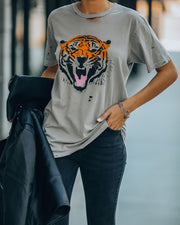 Vibrant Tiger Distressed Cotton Tee