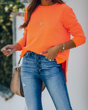 Paint The Town Cotton Blend Pullover - Bright Orange view 4
