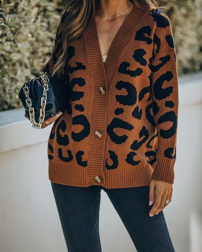 Yahoo Button Front Leopard Cardigan