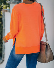 Paint The Town Cotton Blend Pullover - Bright Orange