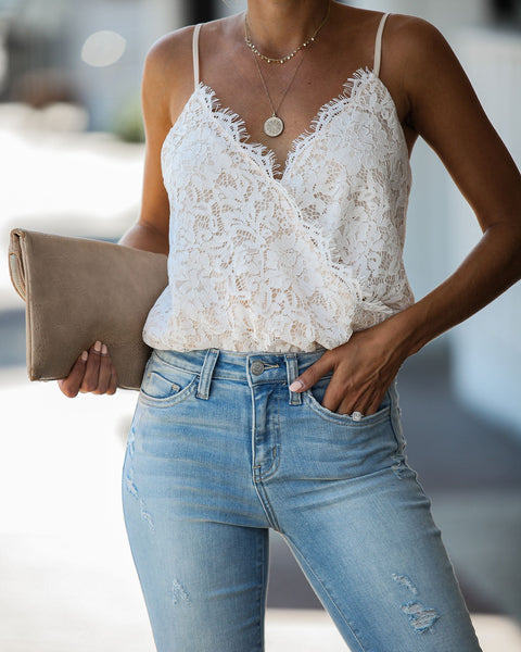 Call It Love Lace Cami Bodysuit - Ivory