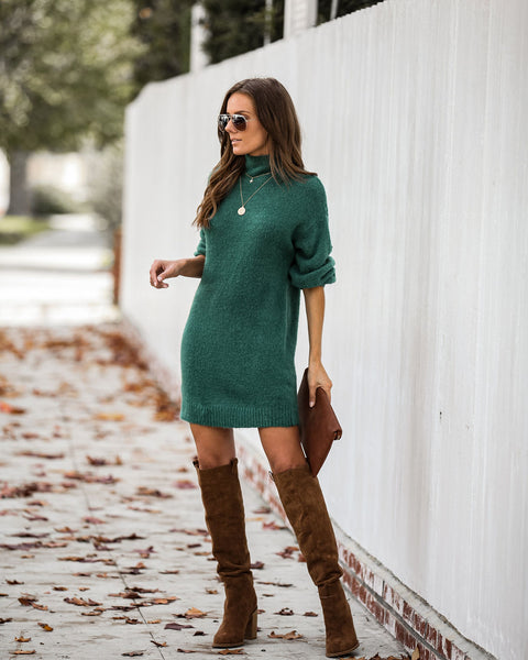 L'amour Mock Neck Sweater Dress - Hunter Green