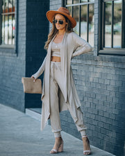 Sweet Release Ribbed Knit Duster - Taupe