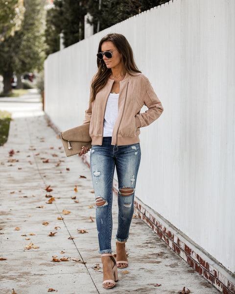 Mitchell Pocketed Faux Suede Bomber Jacket - Blush