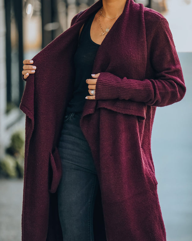 Fireside Pocketed Knit Cardigan - Mulberry
