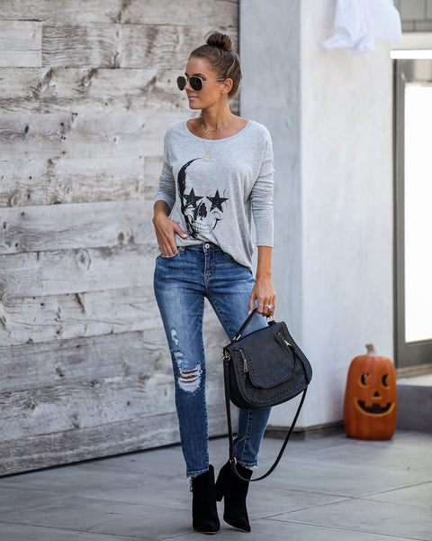 A Star Is Bone Ribbed Long Sleeve Knit Top - FINAL SALE