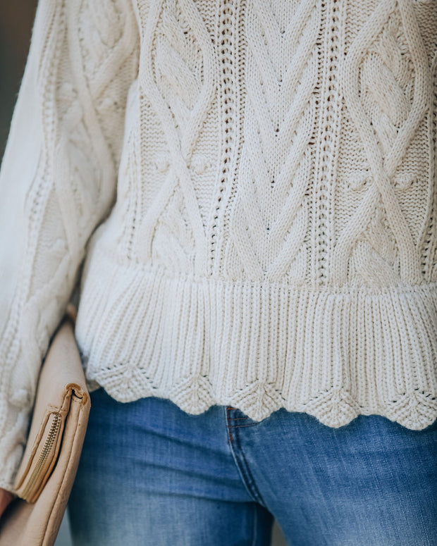 Potter Cable Knit Peplum Sweater