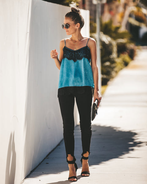Dream On Satin + Lace Cami Tank - Emerald - FINAL SALE
