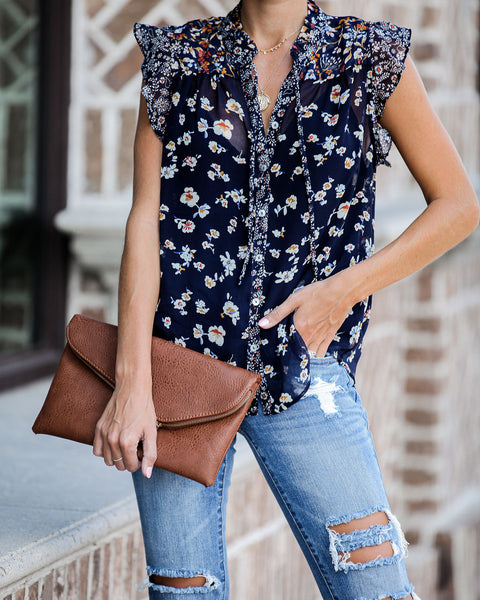 Riley Floral Button Down Ruffle Top