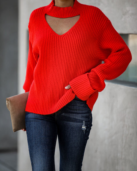 Raise Your Voice Ribbed Knit Cutout Sweater