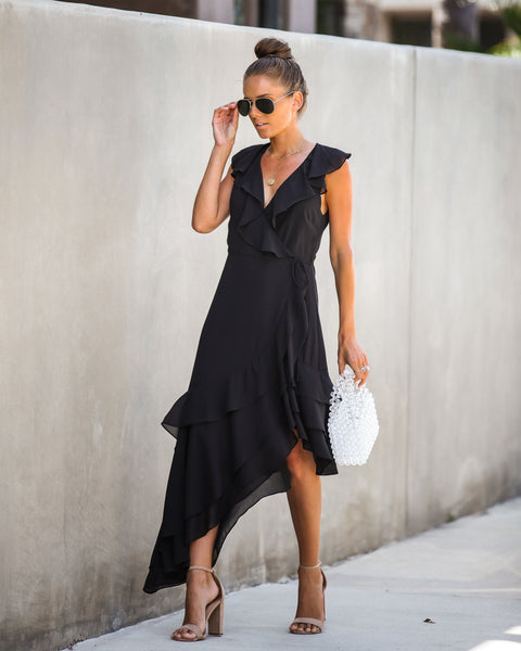 Infatuate Ruffle Wrap Asymmetrical Dress - Black - FINAL SALE