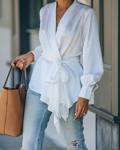 Motivation Satin Drape Wrap Blouse - White