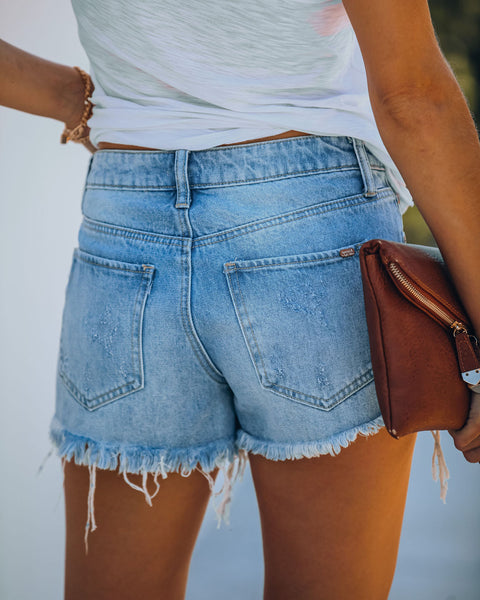 Rita Mid Rise Distressed Denim Shorts