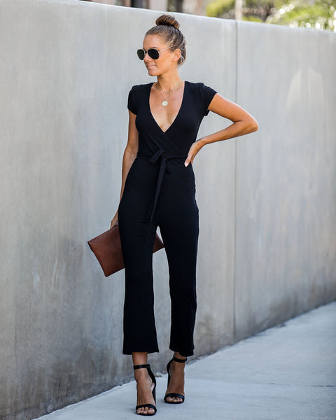 Today's The Day Ribbed Tie Jumpsuit