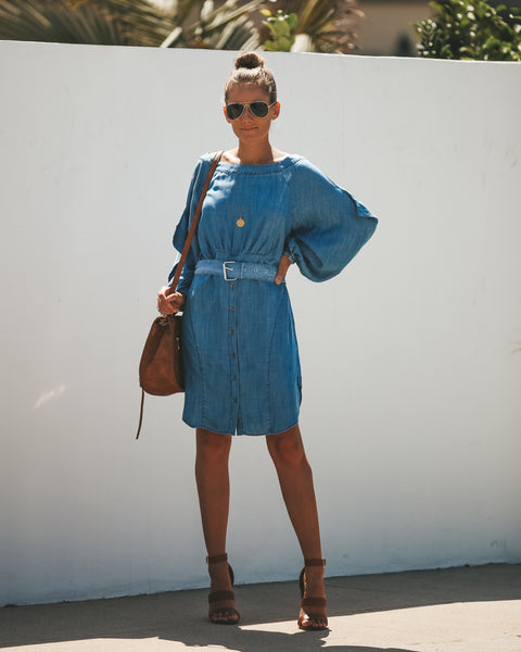 Chantel Button Up Chambray Dress