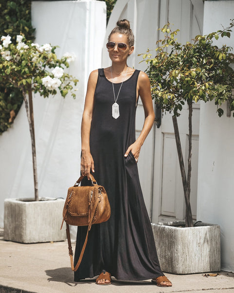Only The Essentials Pocketed Maxi Dress - Black