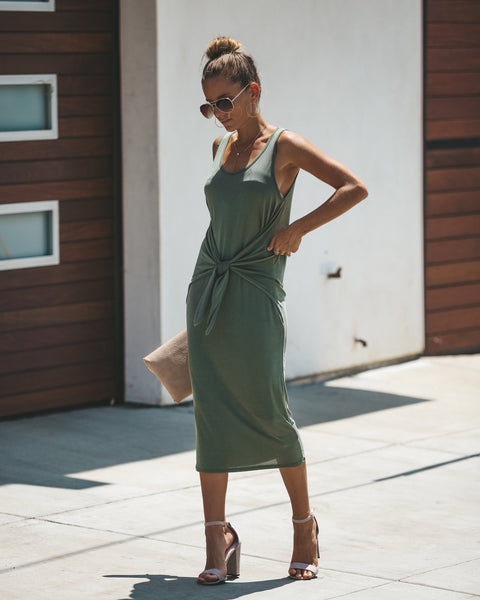 Lasting Beauty Knot Dress - Olive