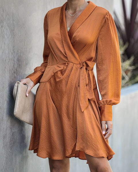 Lawrence Satin Wrap Dress - Bronze - FINAL SALE