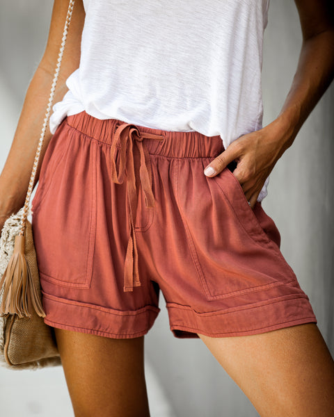 Strive Pocketed Tencel Shorts - Brick