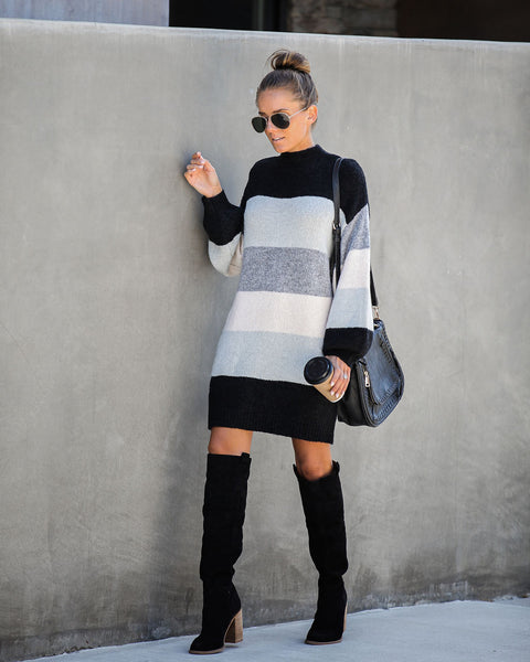 Hibernate Colorblock Knit Sweater Dress - FINAL SALE