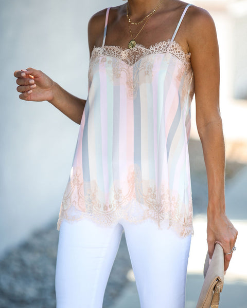 Influential Striped Lace Cami Tank