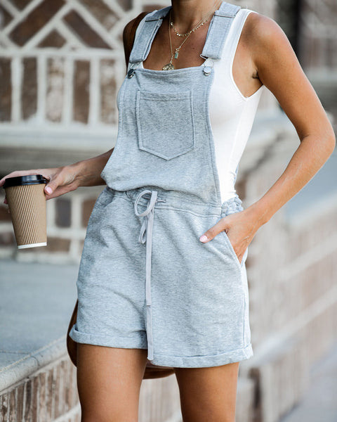 Signing Off Cotton Pocketed Overall Shorts - Grey - FINAL SALE