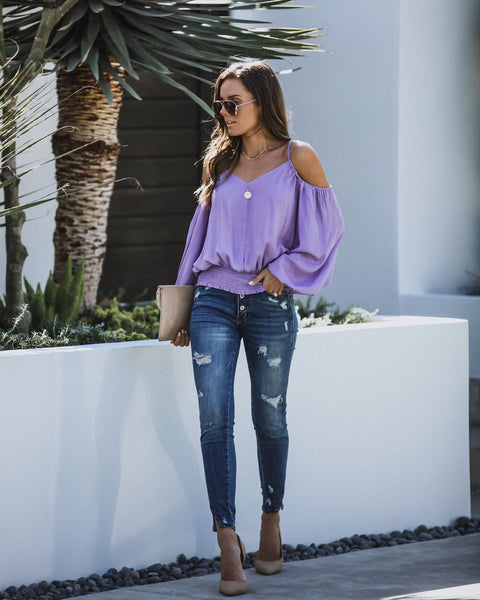 Evangeline Smocked Cold Shoulder Blouse - Lavender