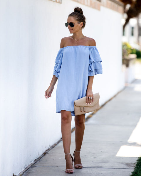 Chase The Wind Off The Shoulder Dress