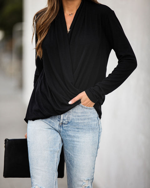 It's Been Awhile Drape Knit Sweater - Black - FINAL SALE
