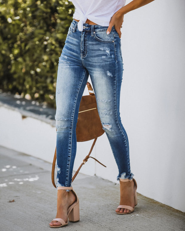 Uptight High Rise Frayed Ankle Skinny