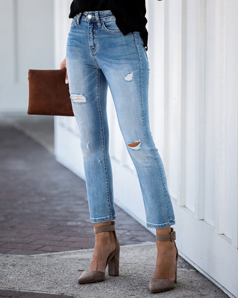 Coast To Coast Mid Rise Distressed Denim - FINAL SALE